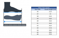 размеры обуви Tibhar Spider